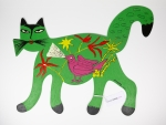 Green cat with bird